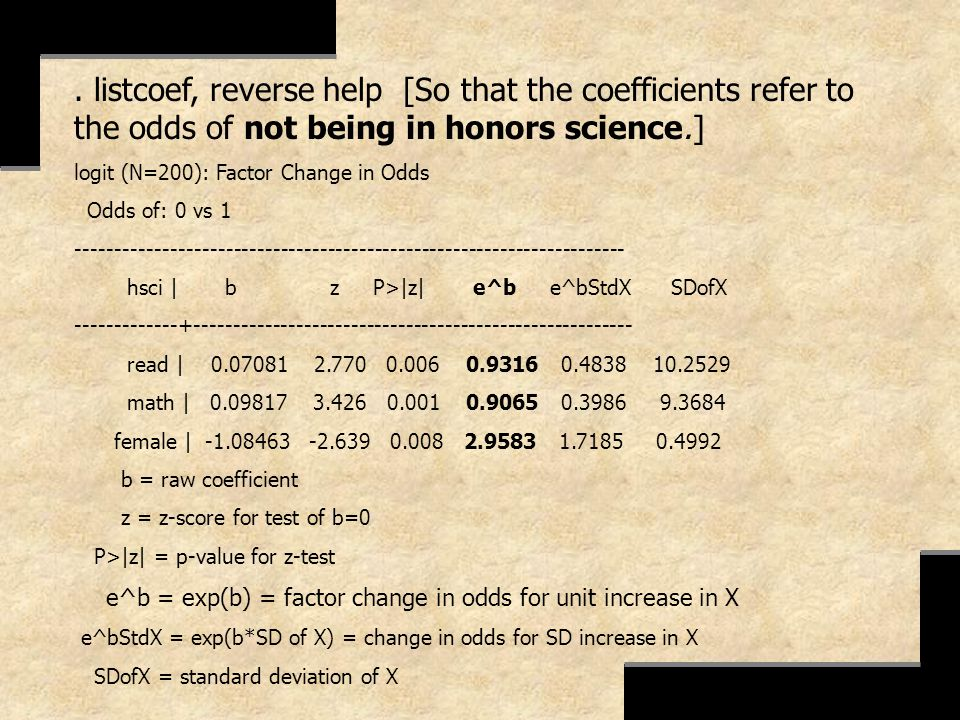 . listcoef, reverse help [So that the coefficients refer to the odds of not being in honors science.]